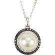 14kt White NECKLACE Complete with Stone 18.00 INCH DROP 08.00 MM PEARL Polished 1/4CTW DIA AND PEARL NCK