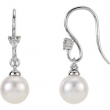 14kt White EARRING Complete with Stone NONE ROUND 07.00 MM PEARL Polished PEARL AND .05CTW DIA EARRINGS