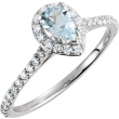14kt White Ring Complete with Stone NONE Pear 06.00X04.00 MM NONE Polished 3/8CTW DIA & AQUAMARINE RING