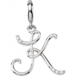 Sterling Silver Pendant Complete with Stone P ROUND 01.00 MM Diamond Polished .03CTW DIAMOND INITIAL CHARM
