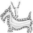 "Sterling Silver NECKLACE Complete with Stone 19.80X23.30 MM ROUND VARIOUS Diamond Polished 1/4CTW DIA SCOTTIE 18"" NCK"