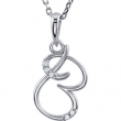 Necklace B Round 01.00 mm Diamond I2 Complete with Stone Sterling Silver Polished .03CTW DIA 18 INCH NECKLACE