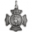 Sterling Silver Pendant Complete No Setting 16.75 MM Polished ST FLORIAN MEDAL W/OUT CHAIN