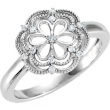 Sterling Silver Ring 07.00 Complete with Stone ROUND VARIOUS Polished .08 CT TW DIA RING