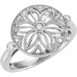 Sterling Silver Ring 07.00 Complete with Stone ROUND VARIOUS Polished .05CTW DIAMOND RING