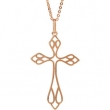 14kt Rose NECKLACE Complete No Setting 16 INCH Polished CROSS NECKLACE