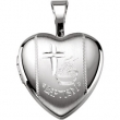 Sterling Silver Pendant COMPLETE WITH SETTING 12.50X12.00 MM Polished BAPTISM HEART LOCKET