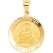 14kt Yellow Pendant Complete No Setting 18.25 MM Polished ROUND HOLLOW ST. PETER MEDAL