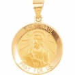 14kt Yellow Pendant Complete No Setting 18.50 MM Polished ROUND HOLLOW ST. PAUL MEDAL