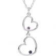 "Sterling Silver NECKLACE Complete with Stone ROUND 01.50 AND 01.75 MM AMETHYST Polished 18"" DOUBLE HEART NECKLACE"