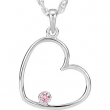 Sterling Silver Necklace Cubic Zirconia Pink Cubic Zirconia Heart Necklace