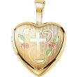 Gold Plated Sterling 12.50X12.00 MM Polished CROSS HEART LOCKET WITH COLOR