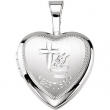 Sterling Silver 12.50X12.00 MM Polished BAPTISM HEART LOCKET