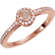 14kt Rose Engagement Complete with Stone SI2-SI3 Round 04.10 MM Polished 3/8CTW ENG RING