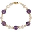 14kt Yellow BRACELET Complete with Stone VARIOUS VARIOUS AMETHYST AND PEARL Polished 7.5 INCH BRACELET