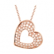14kt Rose NECKLACE Complete with Stone ROUND VARIOUS Diamond Polished 1/4CTW DIA HEART NECKLACE