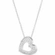 14kt White NECKLACE Complete with Stone ROUND VARIOUS Diamond Polished 1/4CTW DIA HEART NECKLACE