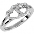 Sterling Silver Ring 07.00 Complete with Stone ROUND VARIOUS Polished .05CTW DIA HEART RING