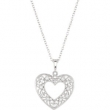 "Sterling Silver NECKLACE Complete with Stone ROUND VARIOUS Diamond Polished 1/10CTW DIA HEART 18"" NECKLACE"