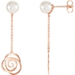 14kt Rose EARRINGS COMPLETE WITH STONE 39.50X11.38 MM Polished NONE