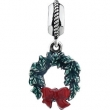 Sterling Silver 16.00x10.00 MM Polished KERA CHRISTMAS WREATH DANGLE