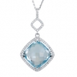Sterling Silver Necklace Complete with Stone Sky Blue Topaz Polished Sky Blue Topaz and 1/3CTW Diamond Necklace