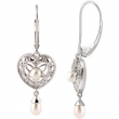 Sterling Silver EARRINGS COMPLETE WITH STONE PAIR PEARL AND DIAMOND Polished NONE