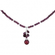 Sterling Silver NECKLACE COMPLETE WITH STONE RHO GARNET AND FW CULT PEARL 16.00-18.00 INCH Polished NONE