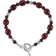 Sterling Silver COMPLETE WITH STONES BRACELET PEARL & RHODOLITE GARNET 07.50 INCHES Polished NONE