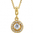 14kt Yellow NECKLACE Complete with Stone Diamond 04.00 mm Polished 1/4 CTW Diamond 18 Inch Necklace