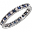 14kt White Band Complete with Stone 07.00 SQUARE 01.60 mm SAPPHIRE AND DIAMOND Polished 1/4CTW ETERNITY BAND