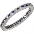 14kt White Band Complete with Stone 07.00 ROUND 01.30 mm SAPPHIRE AND DIAMOND Polished 1/4 CTW DIA & SAPH ETERNITY BA
