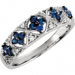 Sterling Silver SIZE 07.00 BLUE SAPPHIRE & DIAMOND Polished NONE