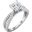 14kt White ENGAGEMENT BASE Semi-Mount SI2-SI3 Round 01.30 mm Diamond Polished 3/8 CTTW SEMI-MOUNT SCULPTURAL