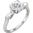 Platinum Engagement Semi-Mount with Head Round 07.40 MM NONE Polished 1/3CTW DIA SEMI-MOUNT ENG RING