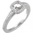 14kt White Engagement Ring Semi-Mount with Head 04.40 mm Polished 1/3 CTW Semi-Mount Engagement Ring