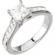 14kt White Engagement Semi-Mount with Head SI2-SI3 Square 07.00X07.00 MM Polished 9/10CTW ENG RING