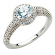 14kt White Engagement Semi-Mount with Head 3/4 CTW Dia Semi-mount Engagement Ring