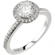 14kt White Engagement Semi-Mount with Head SI2-SI3 Round 07.00 MM Polished 1/5 CTW SEMI-MOUNT ENG RING