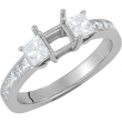 14kt White Engagement Semi-Mount with Head SI2-SI3 Princess 06.00X06.00 MM Polished 1 1/5 CTW SEMI-MOUNT ENG RING