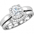 14kt White Engagement Semi-Mount with Head SI2-SI3 Round 06.50 MM Polished 1/10 CTW SEMI-MOUNT ENG RING