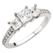 14kt White Engagement Semi-Mount with Head SI2-SI3 Princess 05.00X05.00 MM Polished 1 1/2CTW ACCE 3 STON PRIN RING