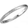 14kt White SIZE 07.00 Polished HAND ENGRAVED BAND