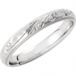 14kt White 7 Hand Engraved Band