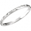 14kt White SIZE 06.00 Polished HAND ENGRAVED BAND