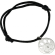 Sterling Silver 06.50-08.00 INCH COMPLETE BRACELET W/.02 CT BLACK CORD BRACELET W/PACKAGING