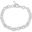 Sterling Silver 6.5 INCH Polished CABLE BRACELET W/TOGGLE CLASP
