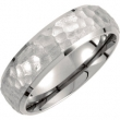 Titanium 06.50 07.00 mm Hammered Bevelled Domed Band