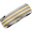 Titanium/14kt Yellow SIZE 10.00 8MM SATIN/POLISHED 14kt GOLD INLAY BEVELLED BAND
