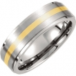 Titanium/14kt Yellow 13.00 07.00 MM SATIN AND POLISHED 14kt GOLD INLAY RIDGED BAND